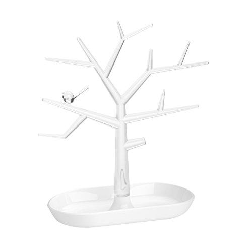 Koziol PI:P M - Soporte para Joyas con Forma de árbol, Color Blanco Transparente