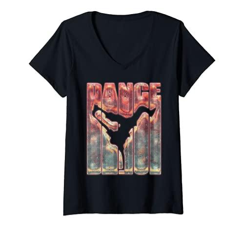 Mujer Graffiti Hip Hop Dance Shirt Breakdance B-Boy Breakdancing Camiseta Cuello V