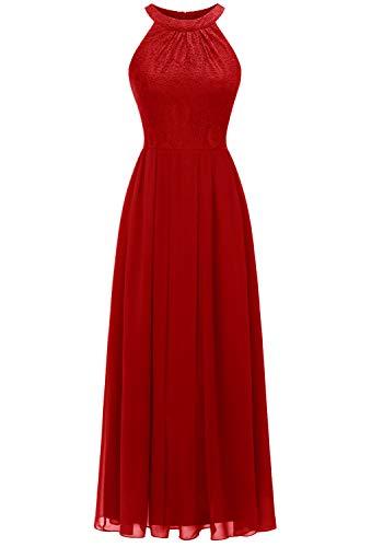 Dressystar 0040 Damen Maxi Lang Abendkleider Elegant Spitzen Ballkleid Ärmellos Hochzeit Rot XL