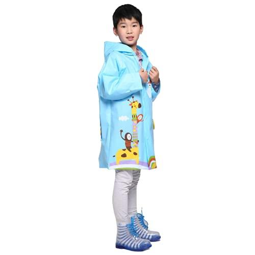 Chubasquero, engrosado, animales de dibujos animados, impermeable para niños, moda creativa, poncho espesado, con espacio para bolsa escolar, rosa-XL