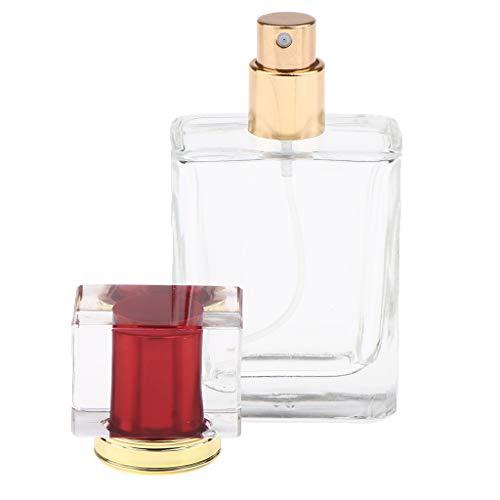 Sharplace Vaporisateur de Parfum Vide en Verre Carré Atomiseur de Parfum Perfume Bottle avec Couvercle pour Homme 50 ml - Une casquette rouge