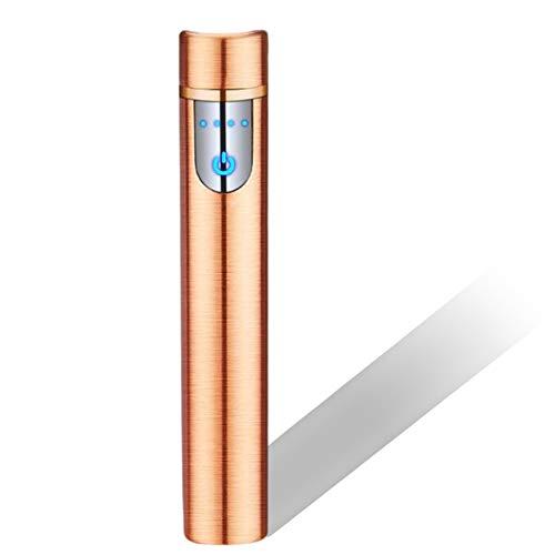 Encendedor Electrónico con Huella Digital Táctil Encendedor Carga USB Sin Llama A Prueba Viento Mini Encendedor Cigarrillos Portátil con Indicador Batería para Cigarrillos Al Aire Libre,G