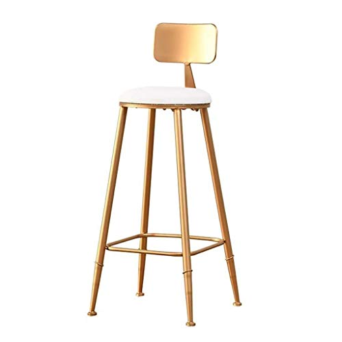 PIVFEDQX Dining Chair Dining Chair Bar Stool High Chair Metal Kitchen Bar White Imitation Leather Pad Backrest Size 85CM