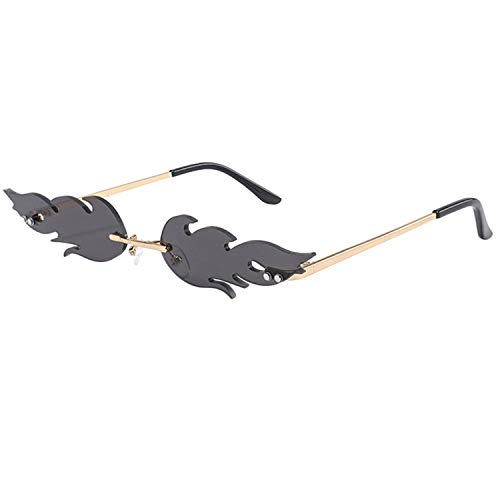 JIER Flame Sunglasses Women Men Sun Glasses Eyewear Sun Glasses Unisex Rimless Sunglasses Flame Sunglasses (Gray,One Size)