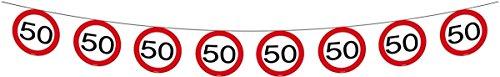 Folat 05183 Wimpelkette: Kette mit 15 Verkehrsschildern (50. Geburtstag), 6 m