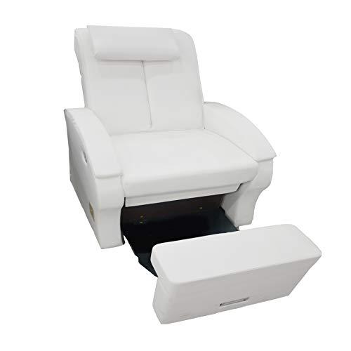 CRIS NAILS SL Crisnails Confort Sillón Relax con Reclinación Manual, con apoya Brazo y más de arcon Color (Blanco)