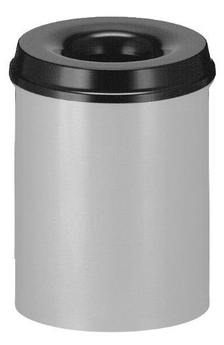 V-Part Selbstlöschender Papierkorb, 15 Liter, alufarben-schwarz