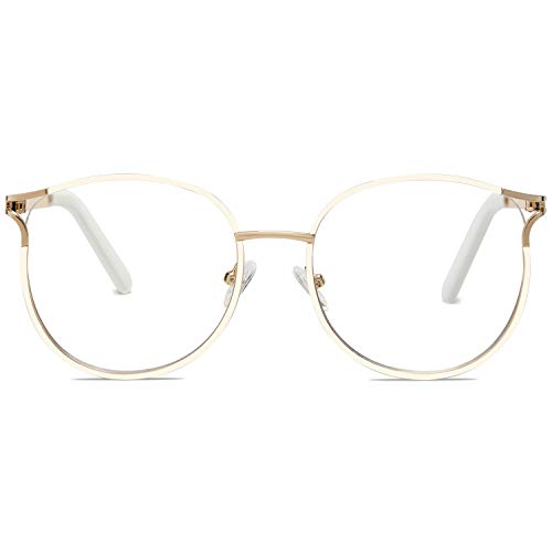 SOJOS Blue Light Blocking Glasses Round Eyeglasses Frame Anti Blue Ray Computer Game Glasses SJ5042 with White Frame/Anti-Blue Light Lens