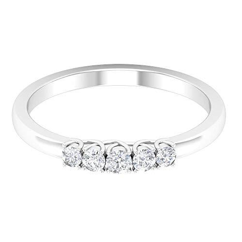 Anillo de boda de 5 piedras, anillo de diamante de forma redonda de 1/4 quilates, anillo de compromiso simple, anillo de declaración de las mujeres, anillo de cumpleaños, 14K Oro blanco, Size:EU 68