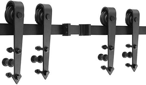 12FT/366CM Schiebetürbeschlag Set für zwei Türen, Laufschienen für Schiebetür Hängeschiene Schiebetürsystem Laufschiene Tür Hardware Kit für Schiebetüren, Pfeilform