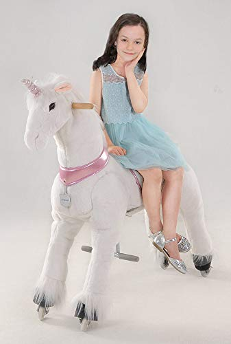 UFREE Action Pony, Large Mechanical Unicorn Toy, Ride on Bounce up and down and Move, Height 44'' for Children 6 Years Old to Adult (Unicorn with Pink Horn)