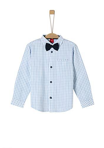 s.Oliver RED Label Jungen Kariertes Hemd mit Fliege Light Blue Check 128/134.REG