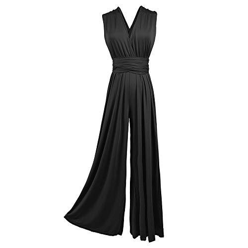 Infinity Jumpsuit Gr. 34-42 Hose und Top in einem. viele Farben Wickelkleid lang, 70 Verschiedene Wickelarten Brautkleid, Abendkleid Kleid lang Maxikleid (Schwarz, 1 (34-42))