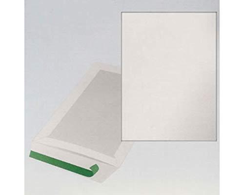 100 Stk. Papprückwandtaschen Kartonrückwandtaschen B4 250x353mm, weiß / Format: B4 Verschluss: Haftklebend OHNE Fenster Mit stabiler Papprückwand