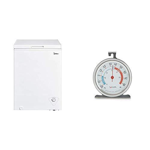 Midea MRC04M3AWW Single Door Chest Freezer, 3.5 Cubic Feet, White & Taylor Classic Series Large Dial Fridge/Freezer Thermometer