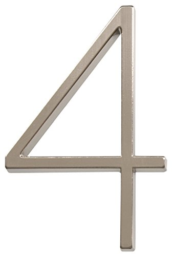 Distinctions 843214 Brushed Nickel Floating Mount 5-Inch House Number 4