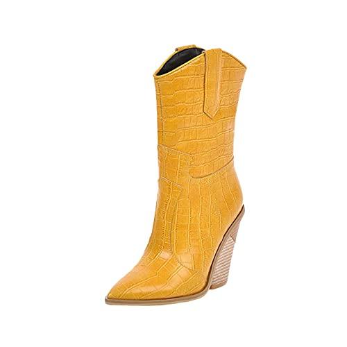 Stivaletti da donna grosso blocco alto tacco impilato a punta stivaletti moda slip on Western BootsPunta chiusa High Top Comfort scarpe Botas para Mujer, Giallo, 40 EU