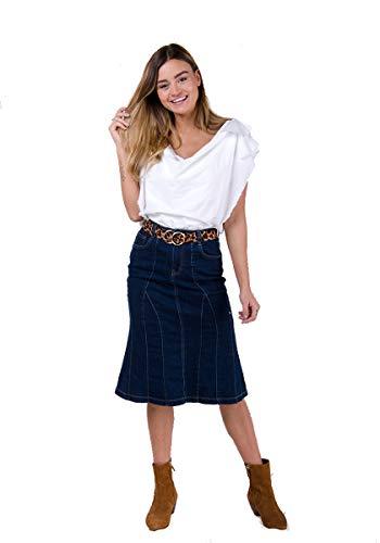 Damen Stretch Denim-Rock Dark Wash Blau Midi-Jeansrock Skirt KIMDW