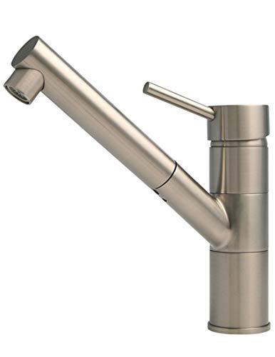 BURGTAL SELIA | Küchenarmatur - Spültischarmatur | Mischbatterie mit Brausekopf | Einhebelmischer in Niederdruck | Edelstahl Matt | Schwenkbar 90°
