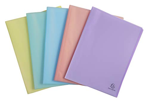 Exacompta - Réf 88470E - Protège-documents 80 vues/40 pochettes -Chromaline Pastel- polypropylène translucide semi rigide - 24x32cm pour format A4 - couleur aléatoire: bleu, corail, jaune, mauve, vert