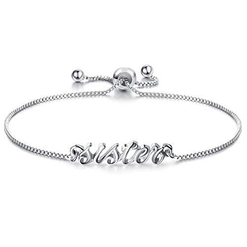 Charm Sister Mum Bracelet for Girls Cube Adjustable Sister Mum Bracelet for Christmas Birthday Graduation ()