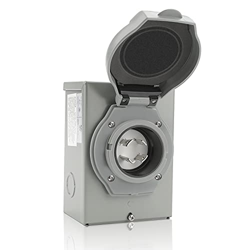 30 AMP Generator Power Inlet Box, NEMA 3R Power Inlet Box, Fit for NEMA L14-30P 4 Prong Generator Cord, 125/250 Volt, 7500 Watt, Weatherproof 30A Generator Inlet Box for Outdoor Use, ETL Listed