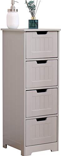 kleiner Schrank, Möbelstück für Bad, Küche, Eingangsbereich, Wohnzimmer, platzsparend, 4 Schubladen, Farbe Grau, mitteldichte Holzfaserplatte, 30 x 30 x 81 cm, Weiß