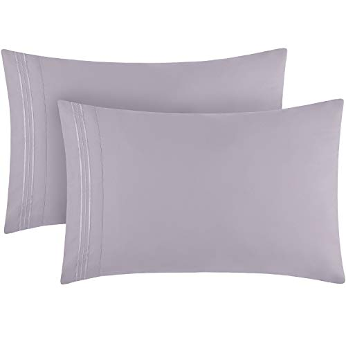 Mellanni Luxury Pillowcase Set - Brushed Microfiber 1800 Bedding - Wrinkle, Fade, Stain Resistant (Set of 2 Standard/Queen Size 20'x30', Lavender)