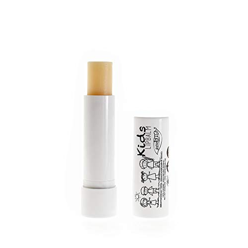 PUROBIO - Balsamo Labbra Idratante per Bambini - Aroma Zucchero Filato - Burrocacao Vegano e Nickel Tested a Base di Olio di Ricino