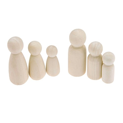 Yetaha 30Pcs Unfinished Wooden Doll Bodies, Male&Female Decorative Great for Arts and Crafts 3MM, 55MM, 65MM