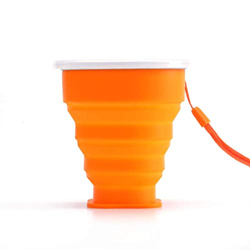 Taza de Viaje Plegable de Silicona, Paquete de 4 Tazas de Silicona Plegable con tapa, Juego de Tazas para Beber Expandibles, taza Reutilizable para Acampar, ir de Excursión, Viajar-orange||200ml