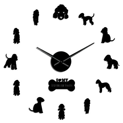 hufeng Reloj de pared encantador Bedlington Terrier Art Pegatinas DIY Reloj de pared Familia Hogar Mascotas Sin Marco Negro Silencioso 47 pulgadas