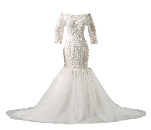 BEBINCA Womens White Ivory 3/4 Sleeves Off Shoulder Beading Lace Detachable Trailing Wedding Dress Bridal Gown Ivory 14