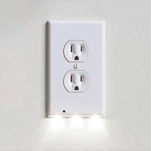gzadq Wall Outlet Cover Plate with Led Night Lights, Safety Light Sensor Plug Cover Plate Socket Switch Cover for Hallway,No Batteries or Wires (3PCS)