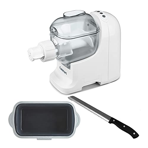Cuisinart PM-1 Pastafecto Pasta and Bread Dough Maker with Silicone Loaf Pan and Stainless Steel Bread Knife Bundle (3 Items)