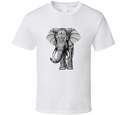 T-Shirt Elefante Dipinto Immagine Bianco e Nero Cool Animali in pericolo Zanne Avorio bianco M