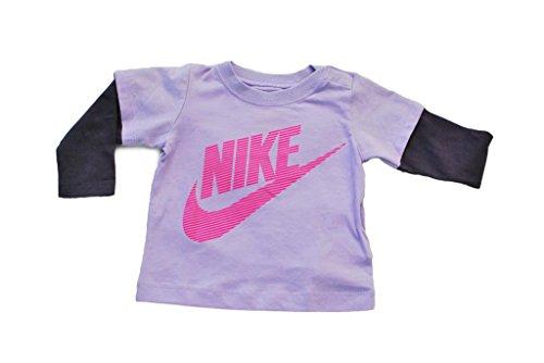 Nike - Camiseta infantil unisex con mangas para bebé, color morado y rosa