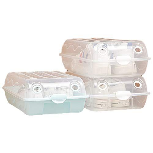 ZCSM Cajas para Zapatos Plástico Apilables, Cajas de Zapatos para Hombres y Mujeres, Juego de 3 Organizador de Zapatos, Ahorro de Espacio, Fácil Montaje, 36.5 x 22.5 x 11 cm