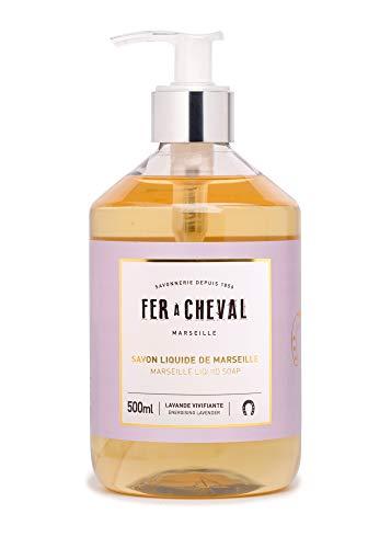 Fer à Cheval - Savon Liquide de Marseille Lavande Vivifiante - Formulation Douce avec une Liste d'Ingrédients Courte pour Convenir à Tous Types de Peau - 500 ml
