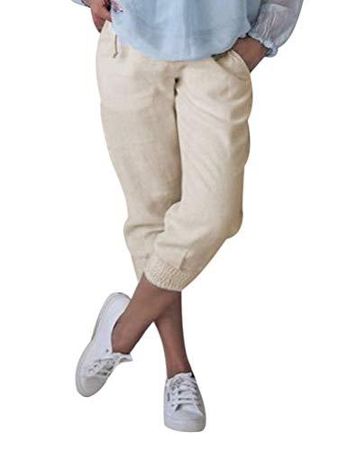 Onsoyours Damen Baumwolle Leinen Capri Hose Sommer Leicht 3/4 Länge Kurze Chino Hose Lässig Einfarbig Strandshorts Stoffhose Freizeithose Baggy Beige Large