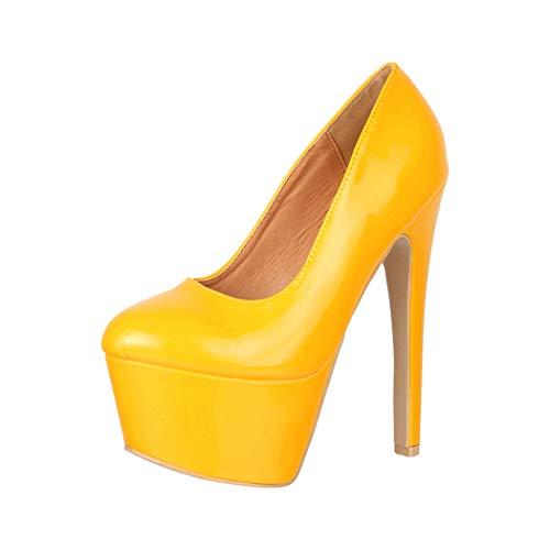 Elara Damen Pumps High Heels Chunkyrayan QM007 Yellow-40