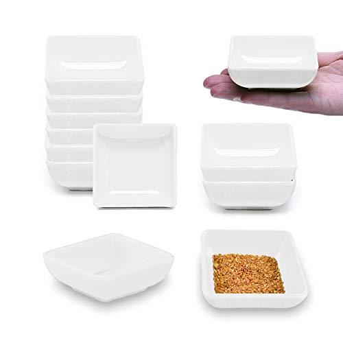 sinzau - Ciotole per salse, 12 pezzi, quadrate, per salsa di soia, salse, spezie, contorni e snack, colore: Bianco
