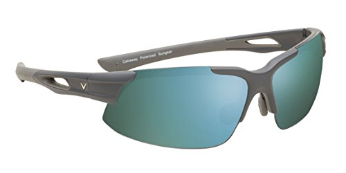Callaway Sungear Peregrine Golf Sunglasses - Matte Gray Plastic Frame, Gray Lens w/Green Mirror