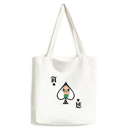 Beautiful Girl Hawaii Cartoon Handtasche Craft Poker Spaten Waschbare Tasche