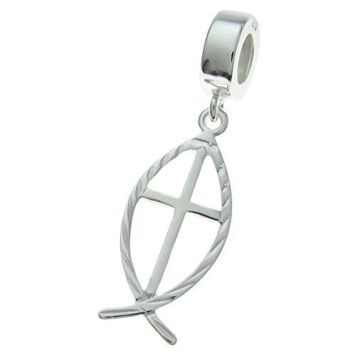 Colgante de plata de ley 925 con forma de cruz para pulsera de abalori