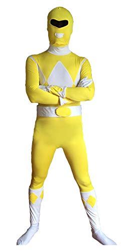 FYBR Yellow Power Ranger Superskin costume–Adulto unisex uomo e donna seconda pelle | Zentai tutina abbigliamento outfit Halloween Lycra Cheap, extra-large