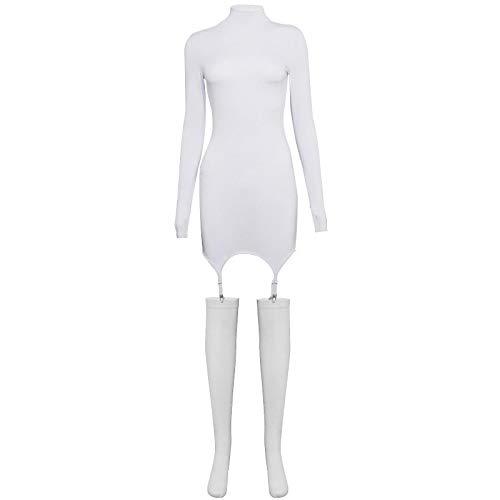 Sólido Bodycon Garter Mini Vestido de Mujer con Medias de Manga Larga Sexy Clubwear Skinny Party Dresses Hot Slim L Blanco