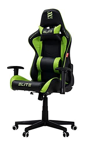 ELITE Racing Gaming Stuhl Destiny MG200 - Bürostuhl - Kunstleder - Ergonomisch - Racer - Drehstuhl - Chair - Chefsessel - Schreibtischstuhl (Schwarz/Grün)