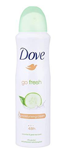 Dove Go Fresh Déodorant Femme, Anti-Transpirant Efficace 48h, Parfum Concombre et Thé Vert, Spray 150ml