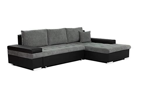 Honeypot - Sofabed - Bangkok - Corner - Large Storage - Sofa Bed - White Grey Black (Right hand, Black/Grey)